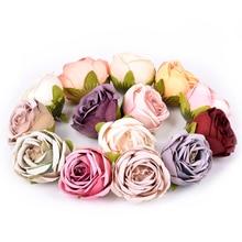 5Pcs 4cm Artificial silk Rose flower head for wedding Home decoration DIY wreath scrapbook Craft Fake Flowers