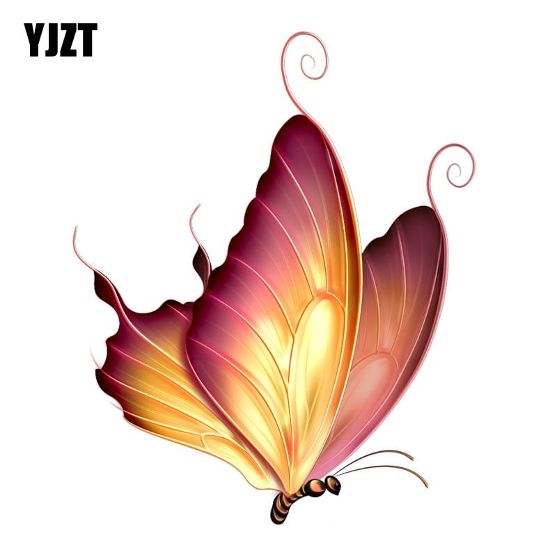 YJZT  12.8CM*15.7CM Beautiful Silhouette Butterfly PVC Motorcycle Car Sticker 11-00663