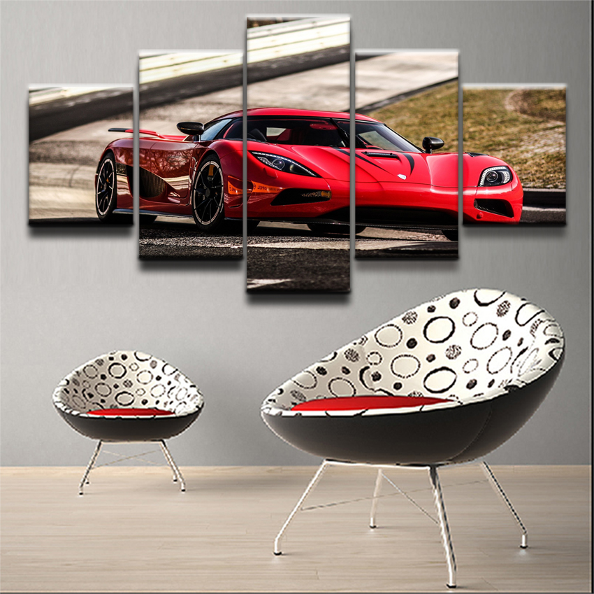 Canvas Poster Wall Art Home Decor Framework 5 Pieces Koenigsegg Paintings For Living Room HD Prints Red Car Sport Pictures