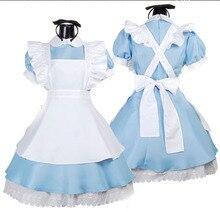 Nueva llegada cosplay alice in wonderland dress mujer con agua azul traje de mucama cos anime uniforme b-5026