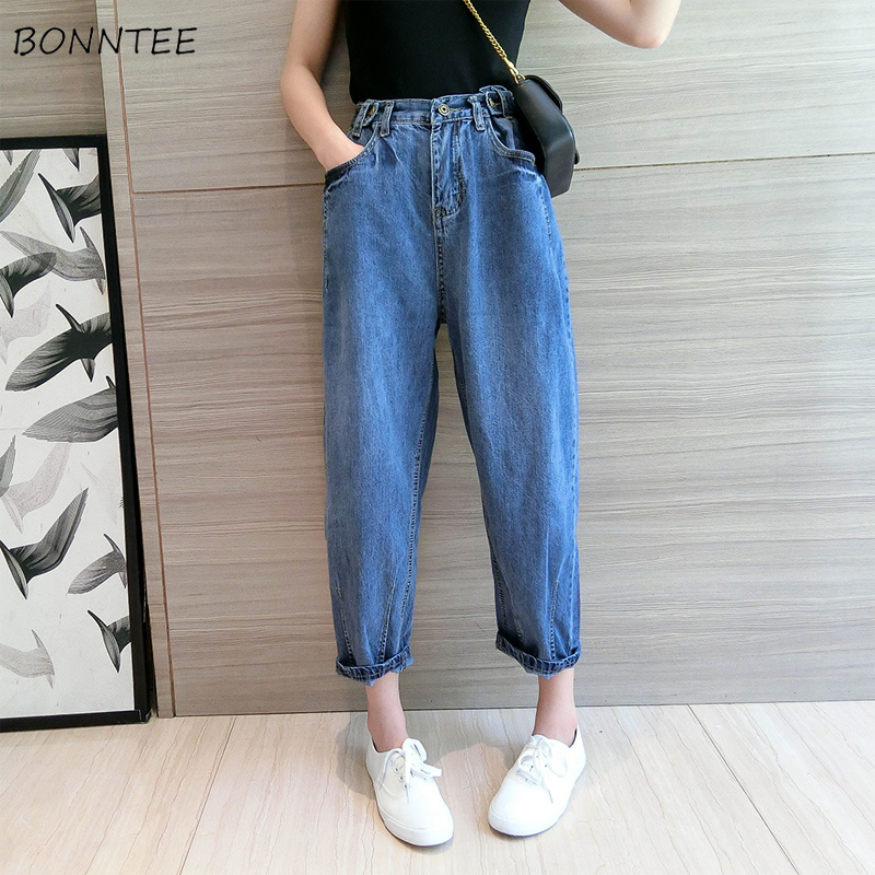 Jeans Women High Spring 2019 Trendy Plus Size Loose Womens Korean Pockets All-match Simple Female Elegant Zipper Denim Chic New