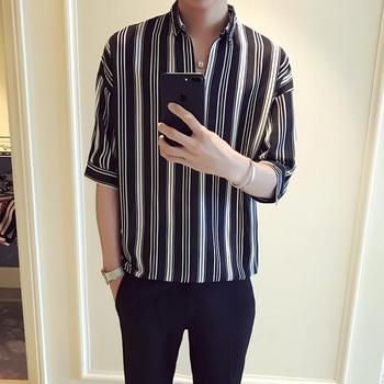 цена на LOLDEAL Summer Five-point Sleeve Shirt Social Guy Vertical Stripes V-neck Sleeve Shirt Men's Casual Fashion Loose Shirt