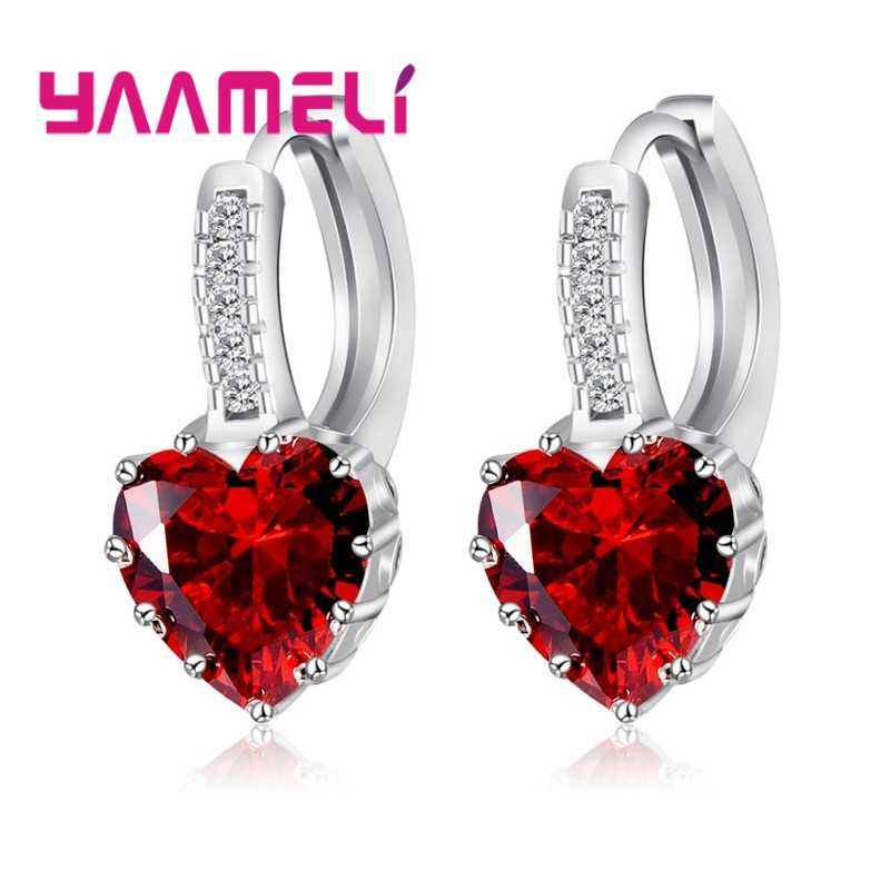 Romantic Heart Crystal Loop Lever Back Earring Austrian Cubic Zircon 925 Sterling Silver Hoop Jewelry for Women Fashion