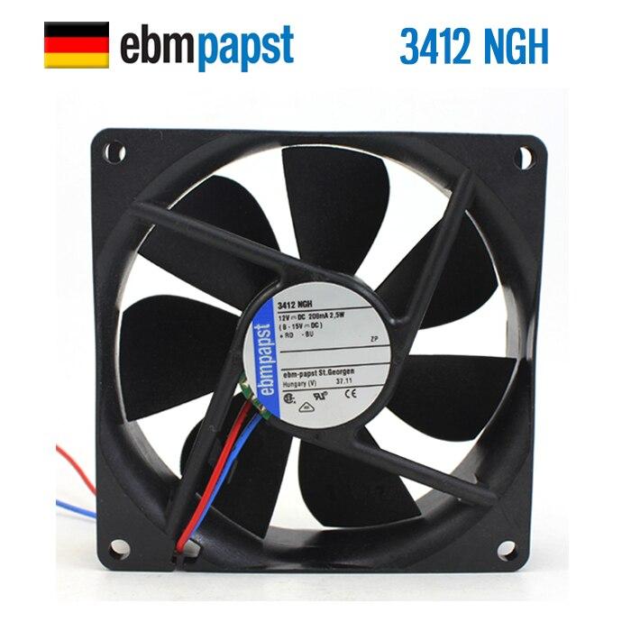 New Ebmpapst Fan 3412NGH 9225 12V 2.5W 9 Cm DC Cooling Fan