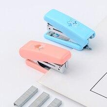 Милый мини-степлер для конфет, офисные канцелярские принадлежности для школьников, студентов, металлический пластиковый ручной бумажный степлер, № 10, скобы