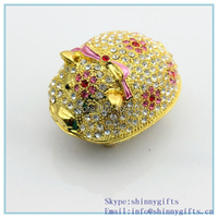 Diamond animal pig shape wholesale jeweled trinket boxes SCJ242-2