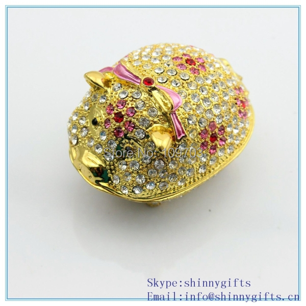 Diamond animal pig shape wholesale jeweled trinket boxes SCJ242-2