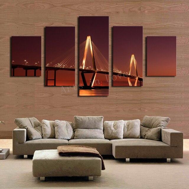 Unframed 5 Panels Natur Goldene Brücke Leinwand Drucken Malerei