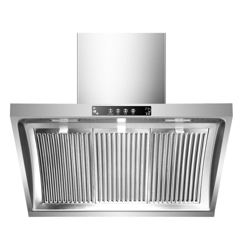 Household Range Hood Big Suction Wall Mounted Kitchen Ventilator Stainless Steel Smoke Exhaust Ventilator LED Light Kitchen Hood