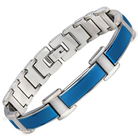 Pain Powder Energy Balance Bracelet Bangle for Arthritis Blue Stainless Steel Chains Germanium Magnetic Bracelet For Men