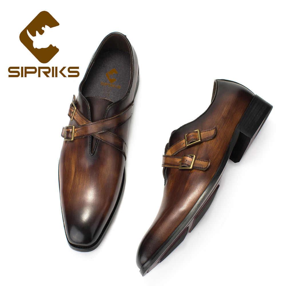 Hecho a mano zapatos para hombres Gris y Negro Correa Doble Monje Zapatos Zapatos para hombres Monje formal