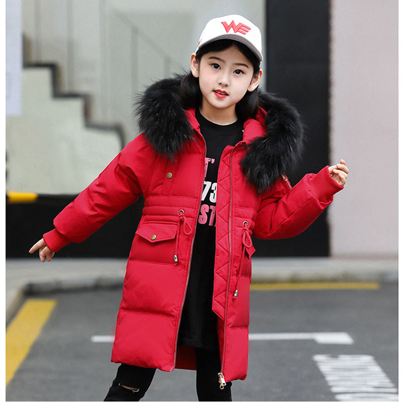 52fcc497d Winter Girls Warm Jackets Boys Outerwears Kids Raccoon Fur Collar ...
