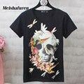 Donna S-4XL Mulheres Moda T Shirt Do Crânio Colorido E Pássaro Impresso Manga Curta Estilo Harajuku Verão Plus Size T-shirt T530Z