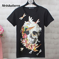 Donna S-4XL Women Fashion T Shirt Colorful Skull And Bird Printed Short Sleeve Harajuku Style Summer Plus Size T-shirt T530Z