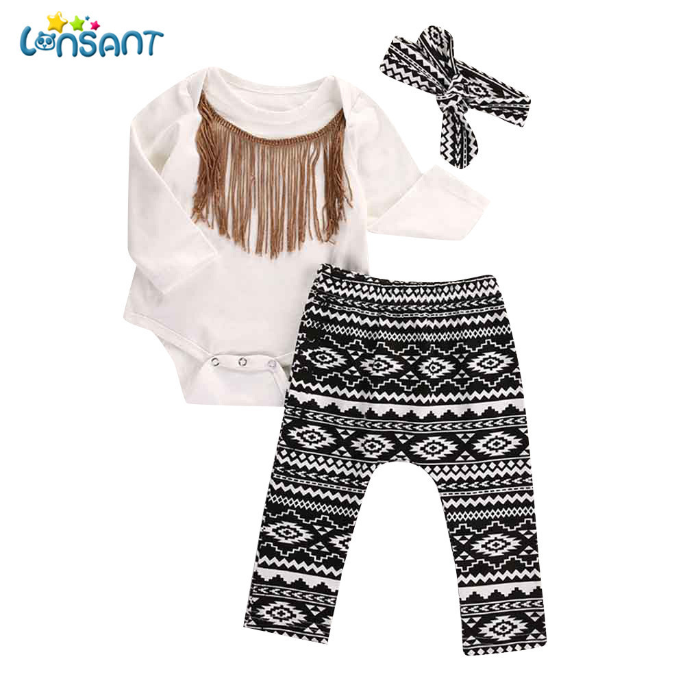 LONSANT 3pcs Newborn Infant Baby Girls Tassels Long Sleeve Romper+Pants+Headband Legging Outfits Playsuit Outfits 0-24M