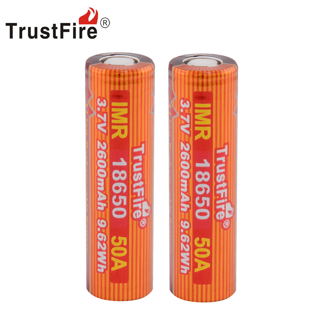 6pcs/lot TrustFire IMR 18650 2600mAh 3.7V 50A 9.62Wh High-Rate Lithium Rechargeable Battery For E-cigarette LED Flashlight