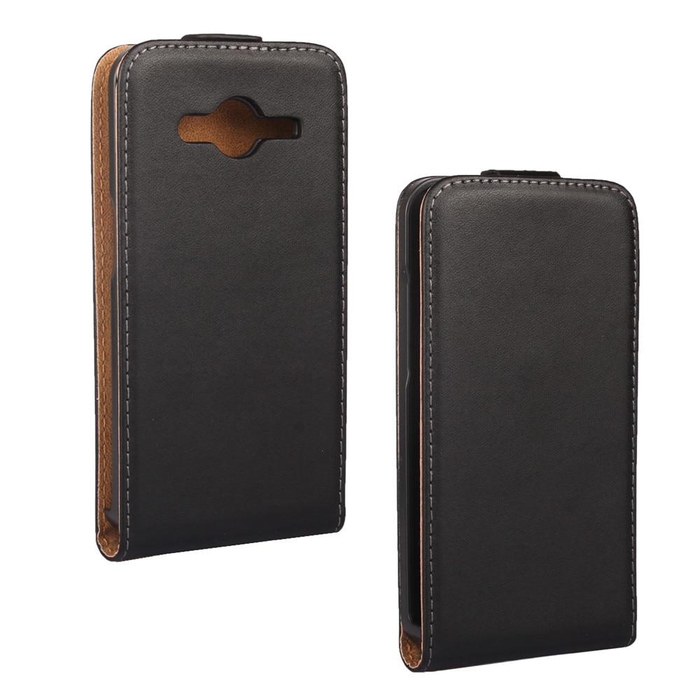 3c9df435af1 Lujo genuino cuero vertical Flip funda para Samsung Galaxy Core II 2 G355H  magnética capa funda envío libre