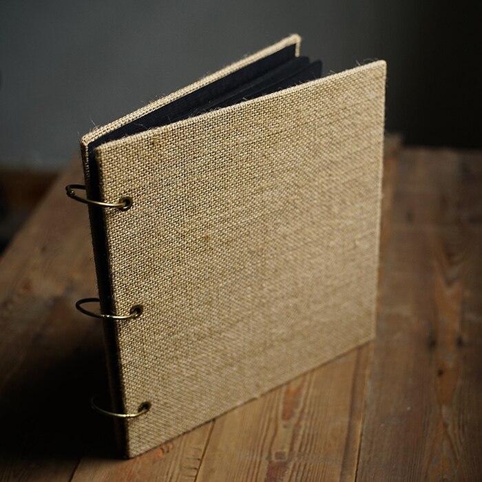Carré toile De jute créative à la main Album De bricolage littéraire rugueux rétro Menu Scrapbooking Album De Boda 4 couleurs 25 feuilles 50 p