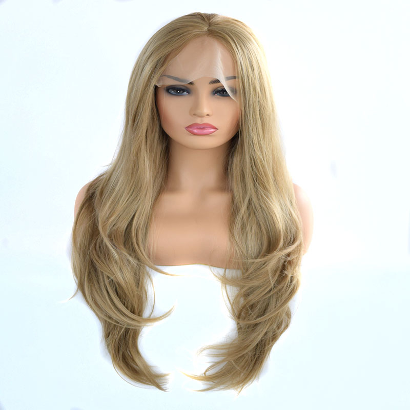 Bombshell Synthetic Lace Front Wig Gold Blonde Long Natural Wave Heat Resistant Fiber Hair Natrual Hairline