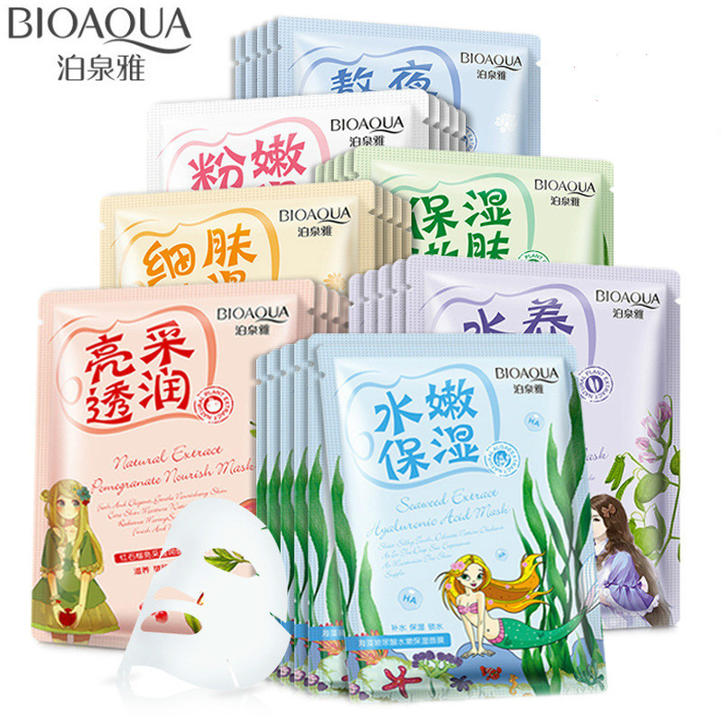 BIOAQUA 10 PCS Whitening Face Mask Sheet Various Plants Extracts Hyaluronic Acid Nourish Mask Oil Control Moisturizing Face Care