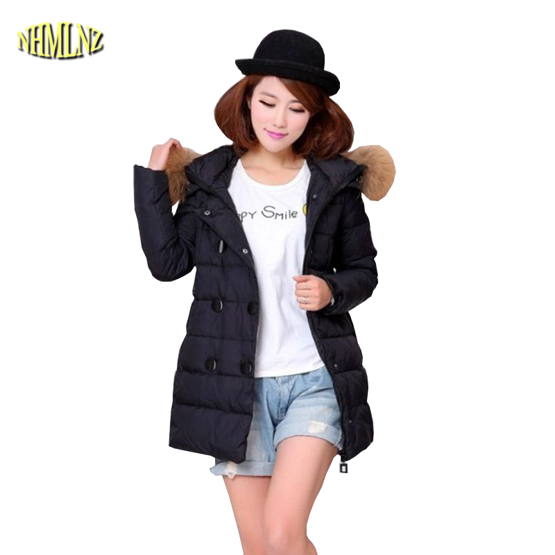 Pregnant women Winter Coat New Fashion Large size Coat Thick Warm Cotton Down jacket Medium long Hooded Fur collar Jacket G2838 winter women down jacket hooded thick warm cotton coat large size new style casual jacket slim long sleeve medium long coat 2580