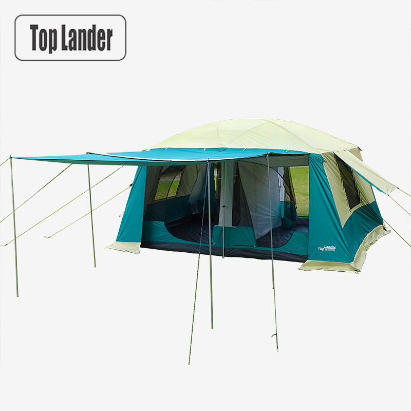 Large Camping Tents Family 8-12 Person 2 Bedrooms Full Cover Double Layer Super Waterproof Outdoor Party Beach Big Cabin Tent octagonal outdoor camping tent large space family tent 5 8 persons waterproof awning shelter beach party tent double door tents
