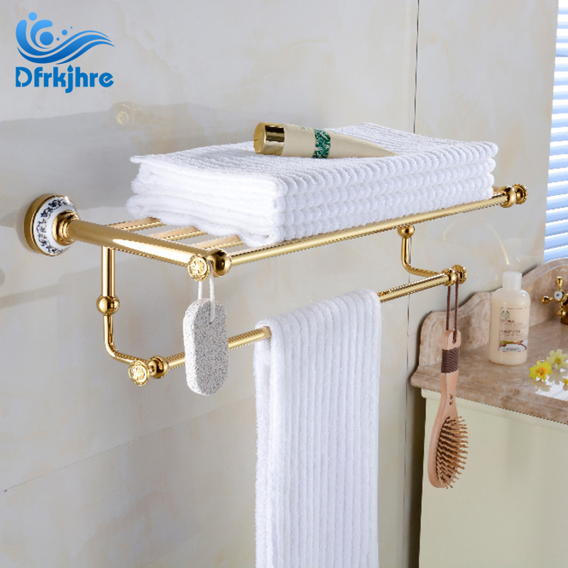 New Golden Brass Bathroom Towel Shelf White And Blue Porcelain Base W/ Towel Bar