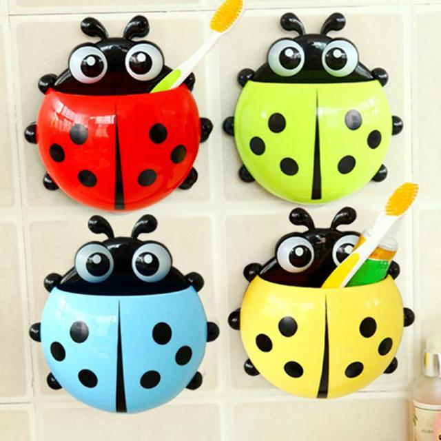 Lovely Ladybug Toothbrush Wall Suction Bathroom Sets Cartoon Sucker Toothbrush Holder / Suction Hooks