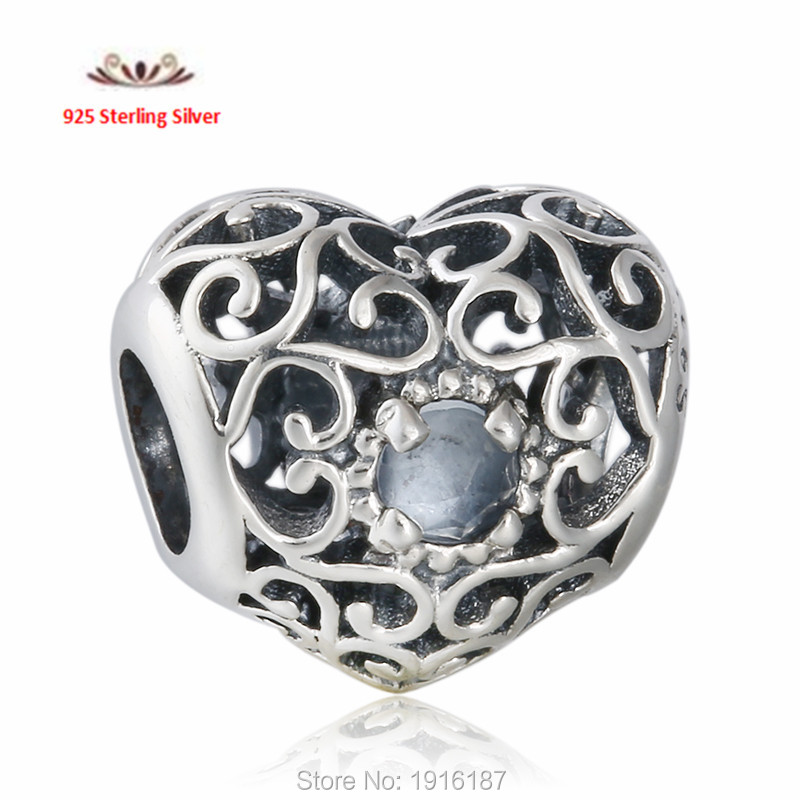 40fd517e7 ... 925 Sterling Silver Openwork Signature Blue Crystal Heart Birthstone  Charm Beads Fits Pandora Bracelets Celebrate March ...