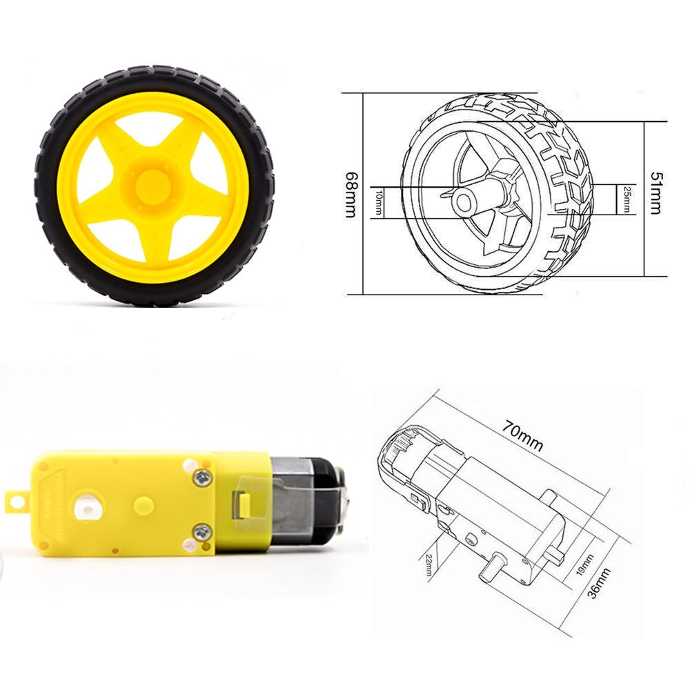 TT Motor Smart Car Robot Gear Motor And Wheel For Arduino DIY Kit Smart Car/Robot Car
