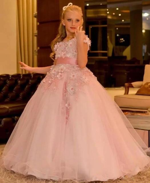da07a48b9cb0c Arabe fleur fille robes 3D Floral Appliques perles pour mariage Vintage petite  fille Pageant robes robe