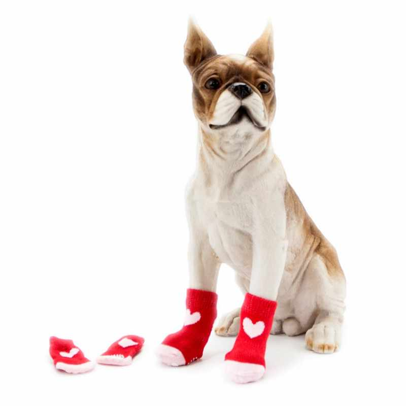 4 stks Mooie Pet Puppy Zachte Warme Sokken Laarzen Winter Canvas Hond Schoenen Kleine Honden S-XL