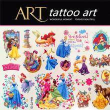 Mermaid Princess Snow White Children Temporary Tattoo Body Art Stickers Waterproof Vine Modelling Wall Stickers