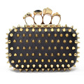 New 2016 Special Self-defense Clutch Bags Rivets Women Evening Bags Skull Knuckle Rings Party Purse Clutches Chains Handbag