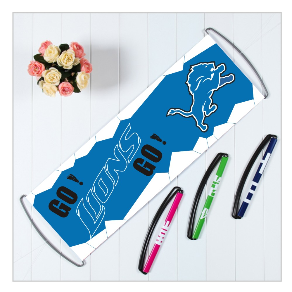 Qiaomu store Custom Detroit Lions banners with handle,polyester pongee America football team flags,24X70CM printed banners