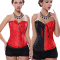 Mulheres Two Toned Harley Quinn Bobo Da Corte Sexy Corset Overbust Floral Lace Voltar Plus Size S-6XL