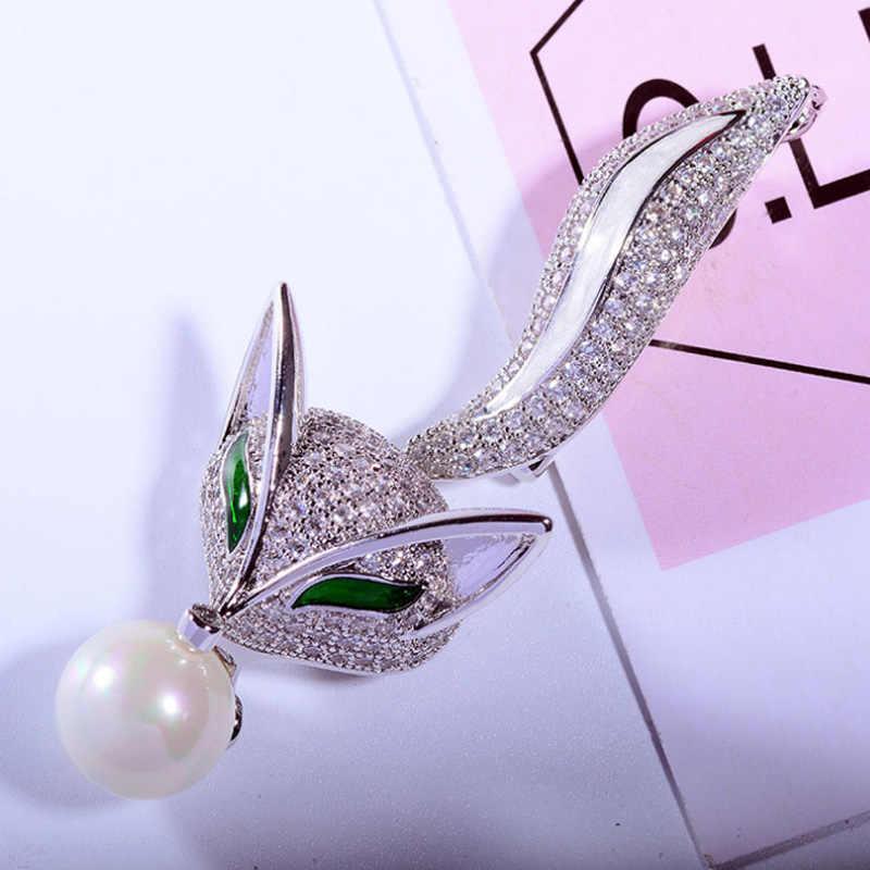 Zlxgirl di Marca di Lusso Cubic Zirconia Fox Animale di Figura Degli Uomini da sposa spilla monili d'imitazione del Metallo della perla accessorio hijab perni della sciarpa
