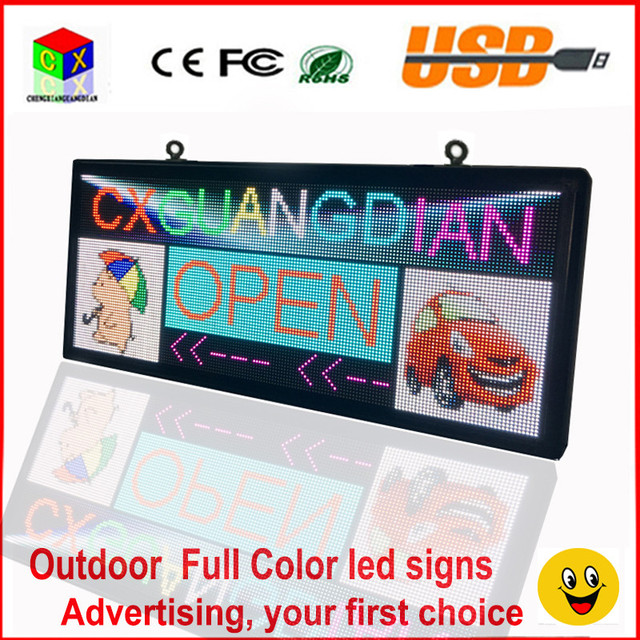 RGB full color LED sign 18''X40''/ support scrolling text LED advertising screen / programmable image video  outdoor LED display
