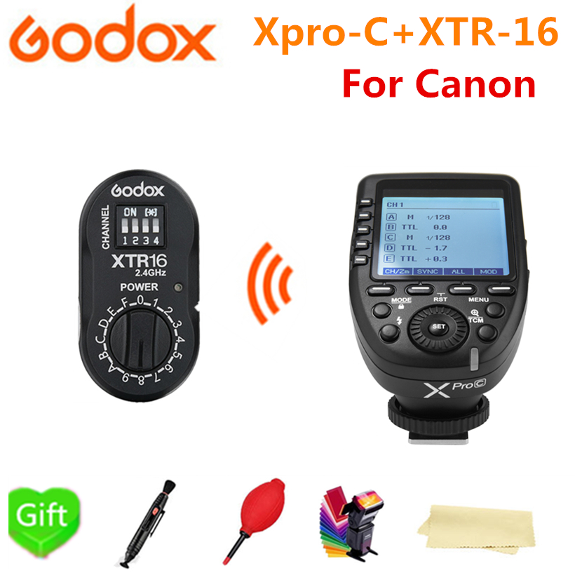 Godox XTR-16 Receiver + XPro-C Flash E-TTL HSS 2.4G Wireless X System Trigger with for Canon DSLR Godox V850II-C V86II-C TT685C wireless pager system 433 92mhz wireless restaurant table buzzer with monitor and watch receiver 3 display 42 call button