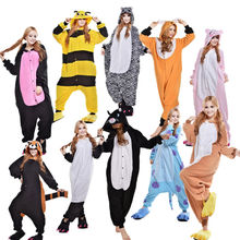 28 Style Adult Anime Pajamas Animal Cosplay Costume Men Women Jumpsuit Sleepsuit Halloween Cosplay Costumes
