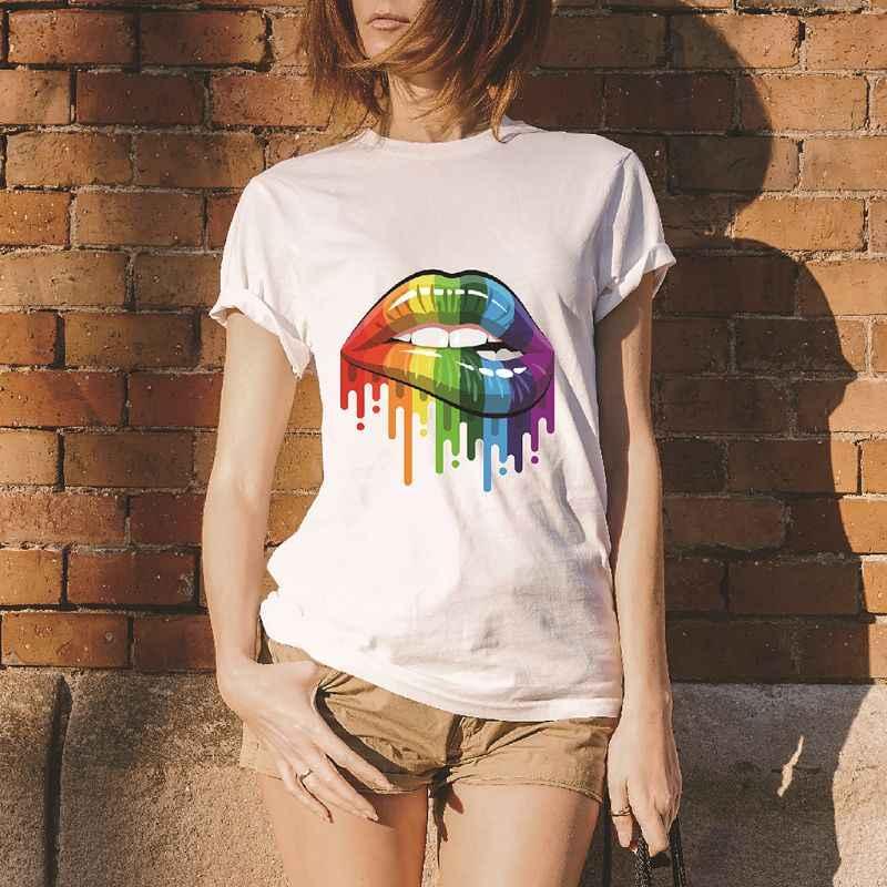 Sexy Rainbow Lippen T-Shirt Vrouwen Zomer Korte Mouw Creatieve Tee Hipster Populaire Loose Trui Tops