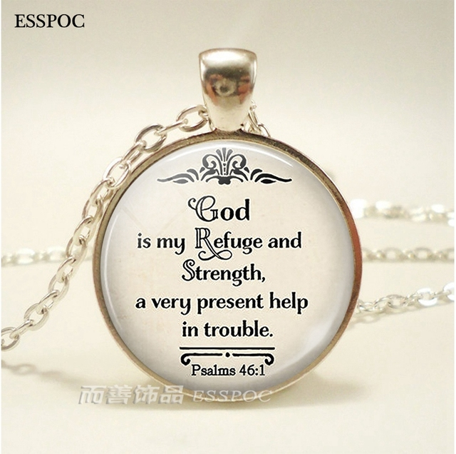 Quote Jewelry | Bible Quote Necklace God Is My Refuge And Strength Pendant Psalms