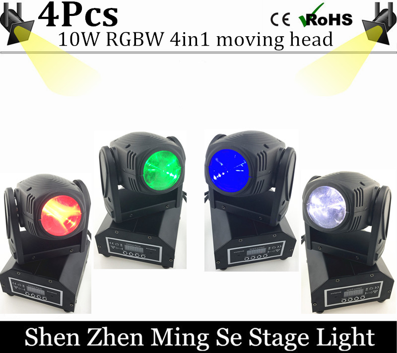 New Seer 4pcs/lots 10W RGBW 4in1 moving head DMX512 light beam LED spot Lighting Show Disco DJ Laser Light 192 controller laser head owx8060 owy8075 onp8170