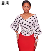 LAISIYI Lantern Sleeve Wrap Blouse Dotted Shirt Women Casual V Neck Top Sexy Office Lady Blouses