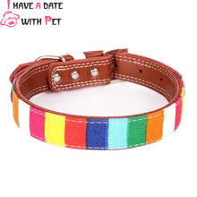 1 PC Genuine Leather Colorful Large Dog Collar Good quality Durable Leash Strap for Medium Big Neck Adjustable Pet Supplies
