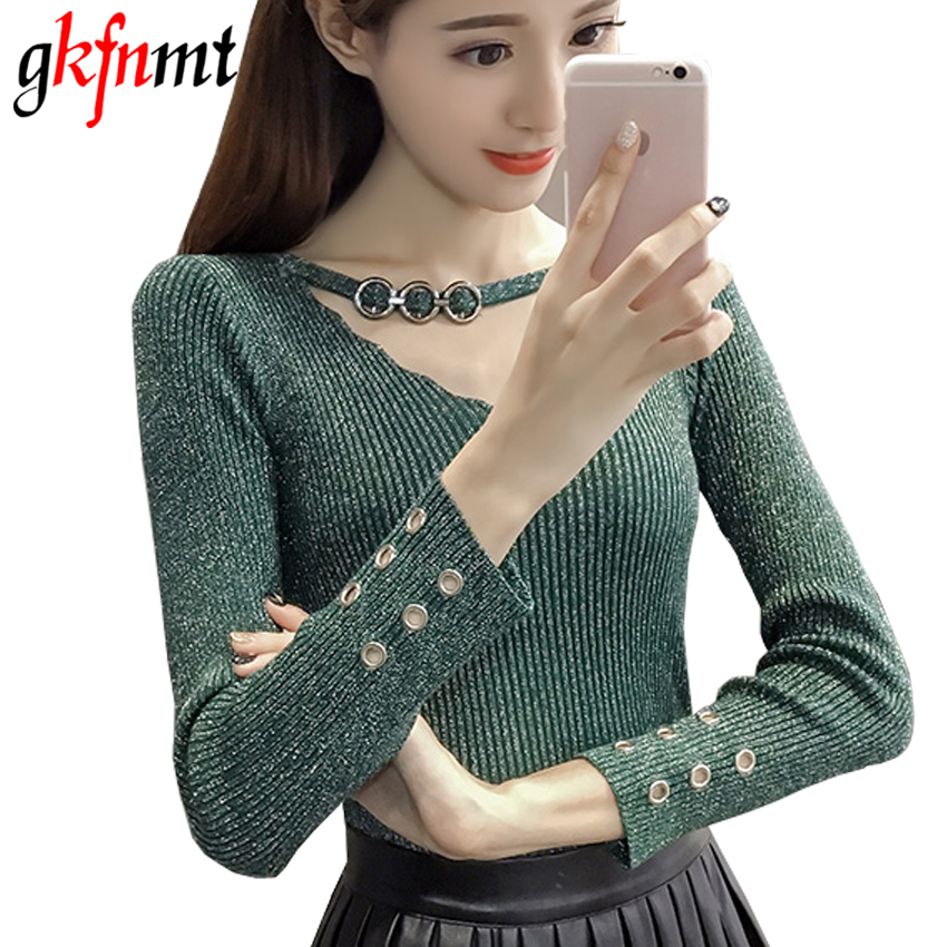 Gkfnmt Autumn Winter Sweater Women 2017 Knit High Elastic Sexy V-Neck Women Sweaters And Pullovers Female Tricot Pull Femme Tops