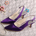 Wedopus MW796 High Quality Medium Heel Bridesmaid Shoes Purple Satin Pointed Toe Pumps