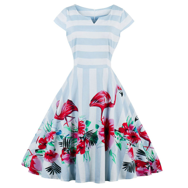 77e3c3cf3af Kenancy Plus Size 4XL Summer Vintage Women Dress Flamingo Pattern Print  Party Vestidos Cap Sleeves Swing Retro Casual Dress-in Dresses from Women s  Clothing ...