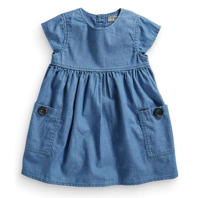 Guarda-roupa essencial vestido jeans com bolsos e botões detalhes, Algodão meninas vestidos, Crianças roupas, Próxima roupas ( 2 - 5 anos )