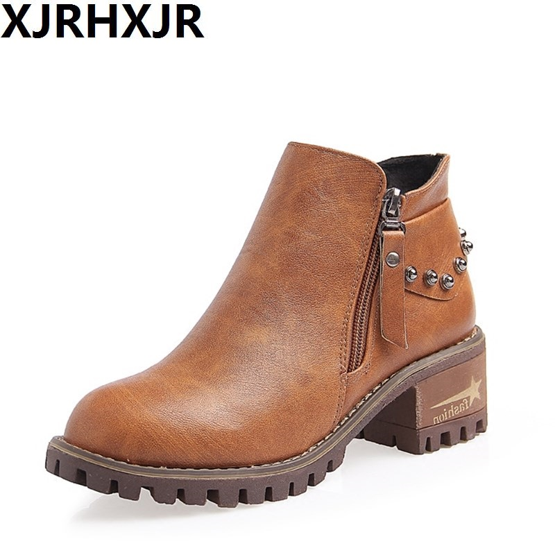 XJRHXJR Fashion Autumn And Winter Platform Ankle Boots Women Rivets Thick Heel Martin Boot Ladies Heels Shoes Round Toe mcckle women s lace up rivets buckle ankle martin boots ladies fashion thick heel platform high quality leather autumn shoes